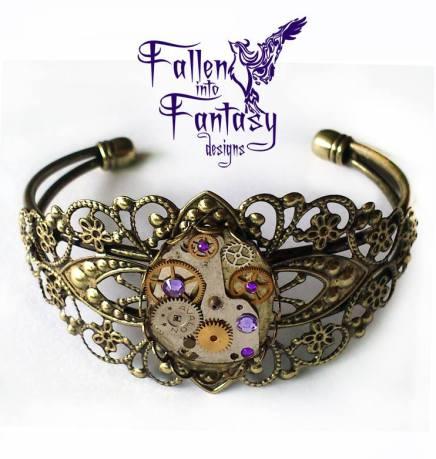 Purple filigree steampunk bracelet