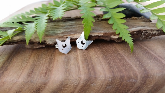 Moon cat earrings
