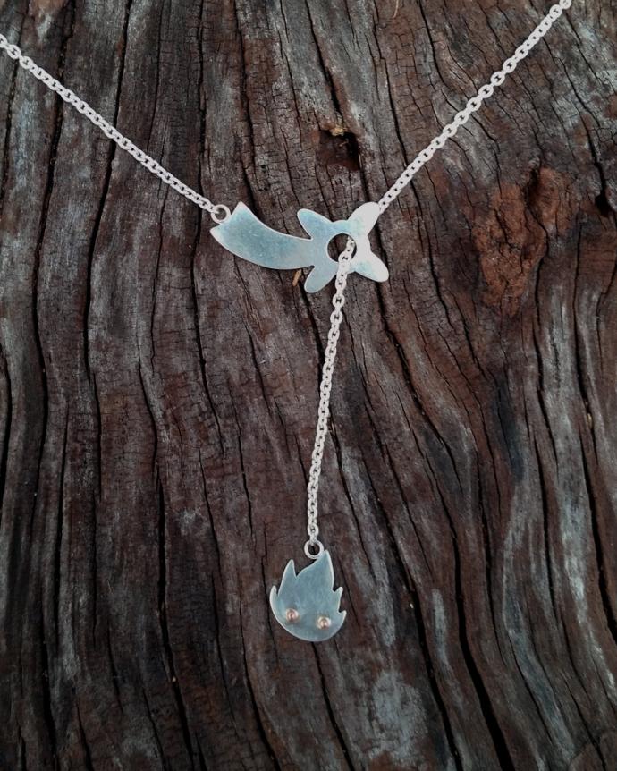 Calcifer lariat necklace